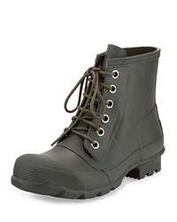 Hunter Short Lace Up Welly Boot Olive