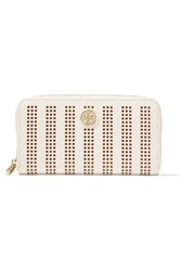 Tory Burch Robinson Perforated Leather Wallet White