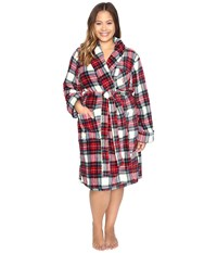 Lauren Ralph Lauren Plus Size Folded So Soft Terry Short Robe Plaid Cream Blue Red Women's Robe