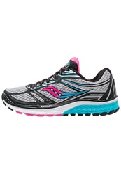 Saucony Guide 9 Stabilty Running Shoes Grey Blue Pink