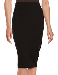Lord And Taylor Petite Front Slit Ponte Pencil Skirt Black