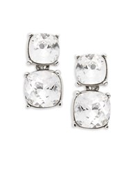 Kenneth Jay Lane Cushion Cut Crystal Drop Clip On Earrings Silver
