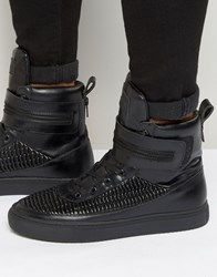 Religion Pleated Hi Top Trainers Black
