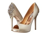 Badgley Mischka Kiara Ivory Satin High Heels Bone