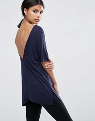 Asos V Back T Shirt With Short Sleeve Navy