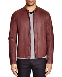Armani Collezioni Slim Fit Lamb Leather Jacket Bordeaux