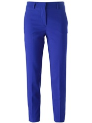 Msgm Cropped Front Pleat Trousers Blue