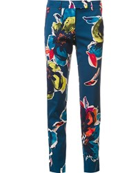 Trina Turk Abstract Print Tailored Trousers Blue