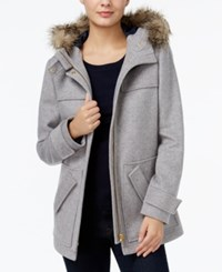 Tommy Hilfiger Kate Faux Fur Trim Coat Only At Macy's Medium Grey Heather