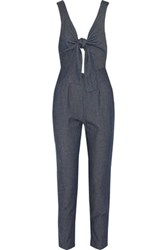 Solid And Striped Cutout Silk Cotton Blend Jumpsuit Indigo