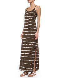 Halston Dip Dye Striped Maxi Dress Sage Dip D