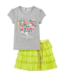 Petit Lem Wild Safari Printed Tee And Mesh Skirt Set Gray Lime
