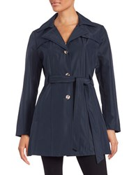 Larry Levine Plus Single Breasted Trench Coat Navy Blue