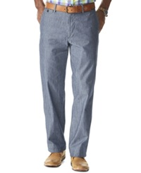 Dockers D2 Straight Fit Field Khaki Chambray Flat Front Pants Denim Chambray