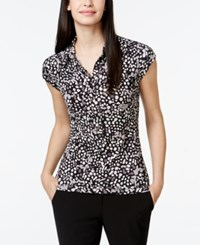 Alfani Printed Cap Sleeve Polo Top Only At Macy's