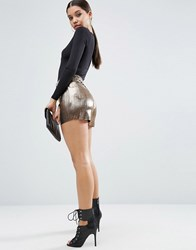 Asos Metallic Pleated Plisse Culotte Shorts Gold