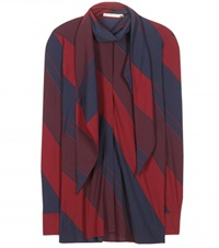 Tory Burch Striped Crepe Blouse Red