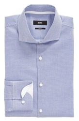 Boss Men's Big And Tall Slim Fit Dot Dress Shirt Bright Blue