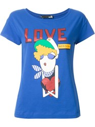 Love Moschino Sailor Girl Print T Shirt Blue