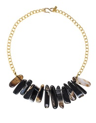 Kenneth Jay Lane Black Agate Spike Collar Necklace Gold