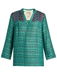 Ace And Jig Smith Woven Cotton Blend Top Green Multi