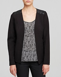 Eileen Fisher Petites Leather Trim Jacket Black