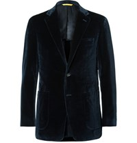 Canali Blue Kai Slim Fit Unstructured Cotton Velvet Blazer Navy