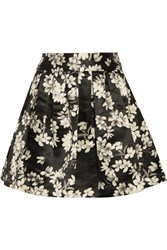 Alice Olivia Fizer Printed Satin Mini Skirt Black