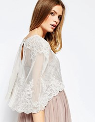 Asos Premium Wedding Lace And Pleat Back Cape Light Grey