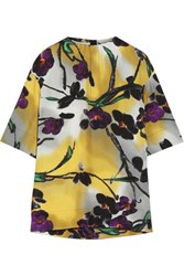 Marni Floral Print Crepe Top Yellow