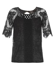 Burberry Round Neck Contrast Lace Top Black