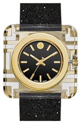 Women's Tory Burch 'Izzie' Square Leather Strap Watch 36Mm Black Glitter Gold
