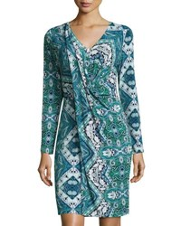 Tahari By Arthur S. Levine Printed Jersey Drape Front Dress Multi Pattern