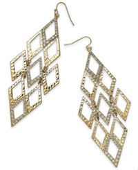 Thalia Sodi Gold Tone Hammered Pave Diamond Shaped Chandelier Earrings