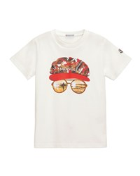 Moncler Short Sleeve Cotton Sunglasses Tee White Size 4 6 Size 4