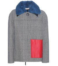 Marni Check Wool Blend Coat With Leather And Fur Black