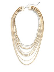 Punch Multi Row Layered Necklace Gold Silver