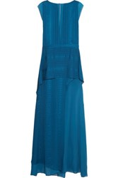 Mason By Michelle Mason Draped Satin Striped Silk Chiffon Gown Blue