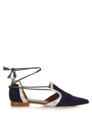 Malone Souliers Haji Lace Up Suede Flats Navy Silver