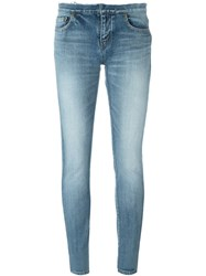 Saint Laurent Stonewashed Skinny Jeans Blue