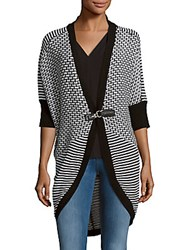 One A Cocoon Long Cardigan Black White