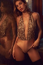 Out From Under Sequin Super Plunge Bodysuit Pink