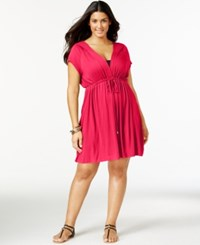 Dotti Plus Size Hooded Drawstring Cover Up Women's Swimsuit Pink