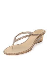 Crystal Embellished Wedge Thong Sandal Gold Rene Caovilla