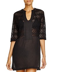 Echo Lace Inset Tunic Swim Cover Up Black