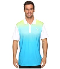 Puma Gt Glow Polo Bright White Hawaiian Ocean Men's Clothing Blue