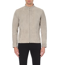Reiss Salamanda Zip Up Suede Jacket Stone