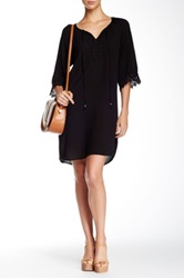Daniel Rainn 3 4 Sleeve Crochet Trim Boho Shift Dress Black