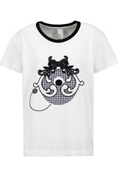 Mother Of Pearl Liber Appliqued Cotton Top White