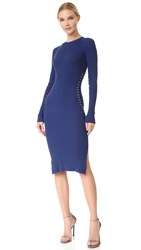Thierry Mugler Long Sleeve Knit Dress Ocean Blue